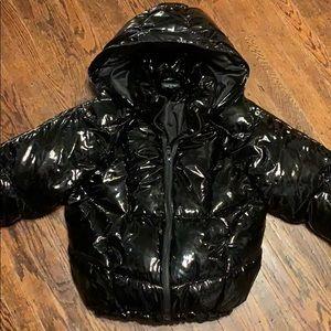 Patent leather bubble jacket.